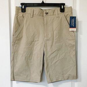 Boys Flat Front Stretch Khaki Uniform Shorts 16